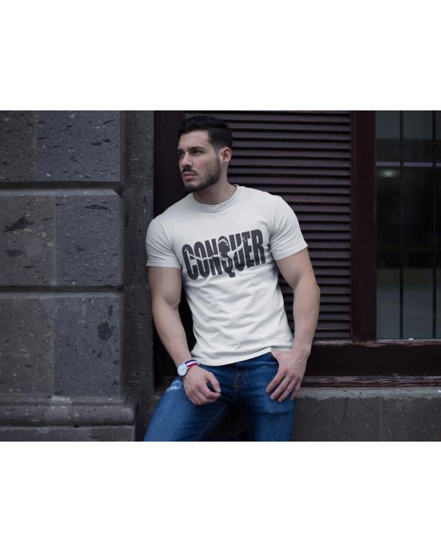 Мъжка тениска - Conquer - бяла