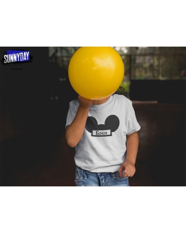 Детска тениска Mickey Mouse - С ТЕКСТ ПО ИЗБОР!