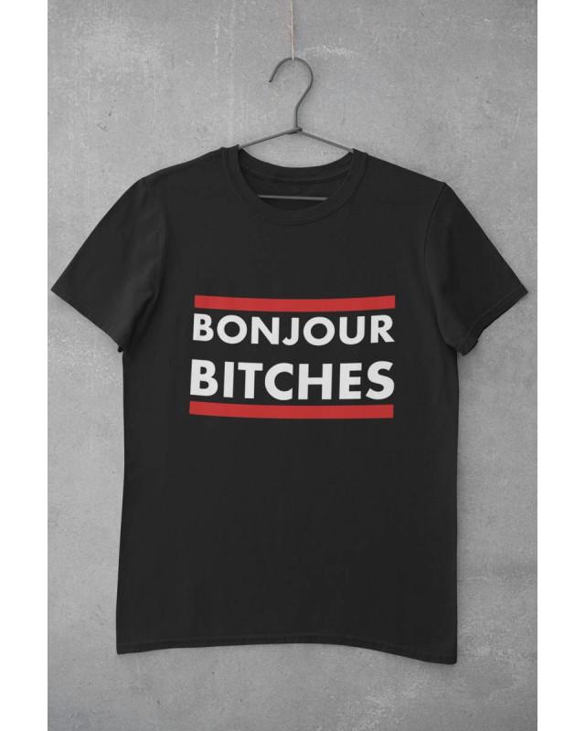 Мъжка тениска - Bonjour - черна