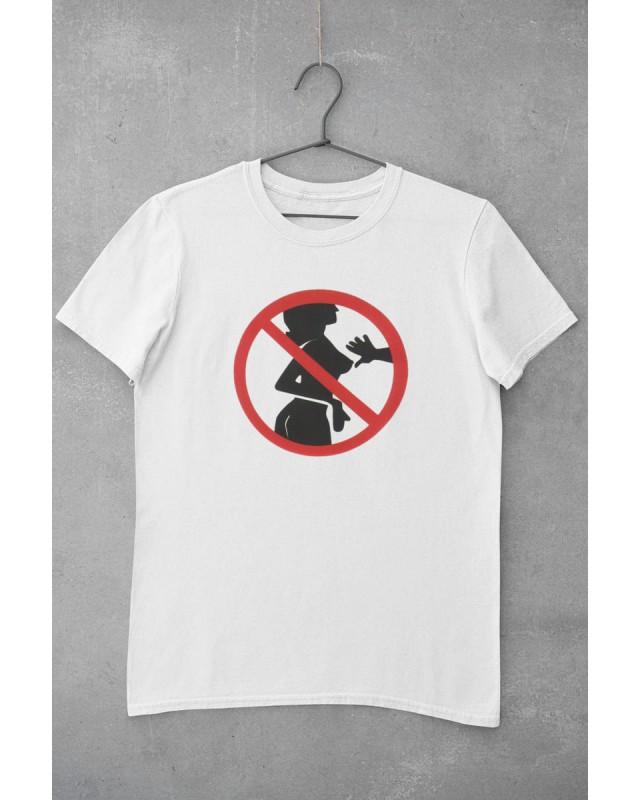 Мъжка тениска - Не пипай ! - бяла