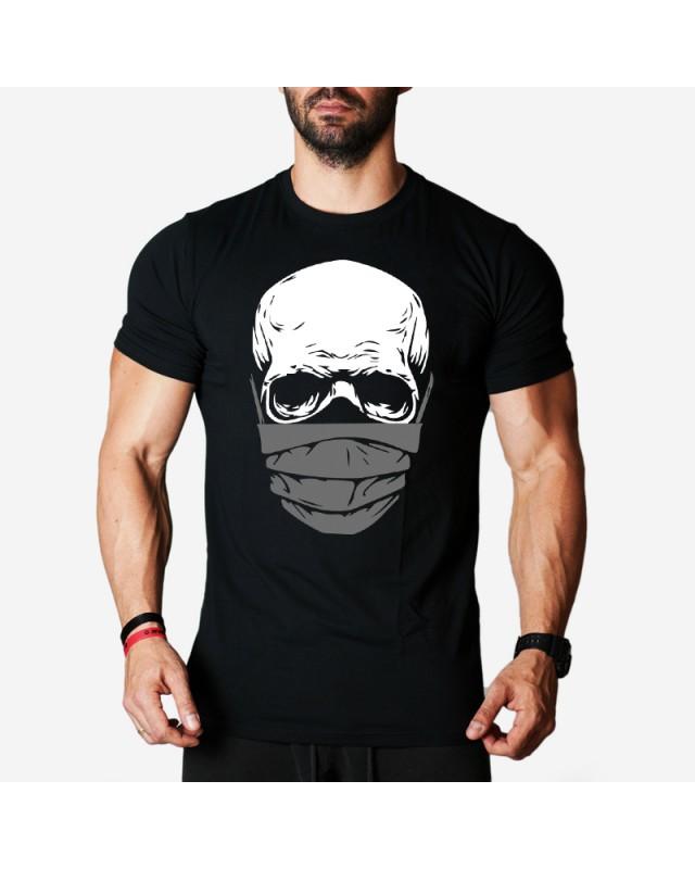 Мъжка тениска - Skull with mask - черна