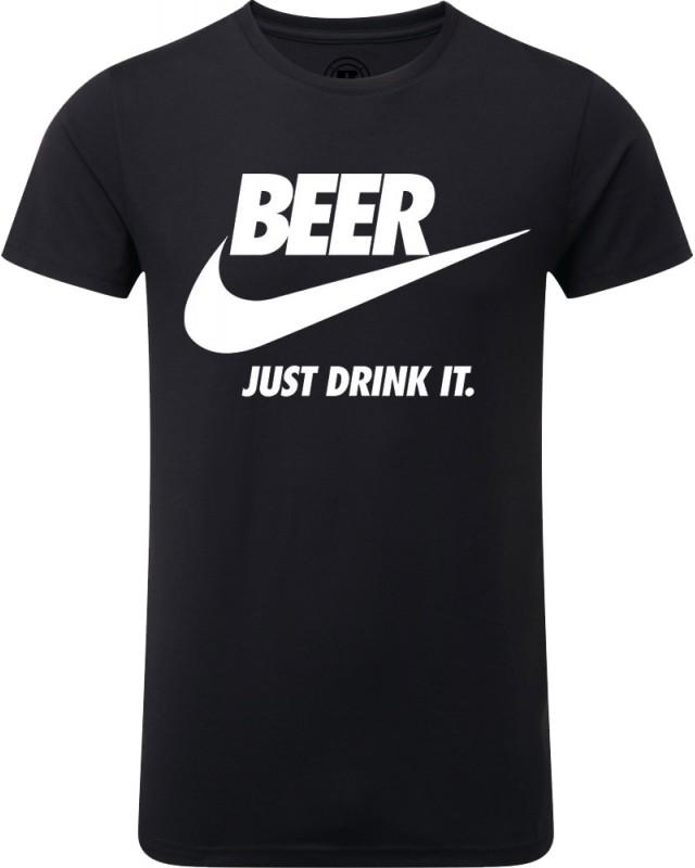 Мъжка тениска - Beer - just drink it - черна