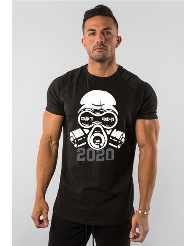 Мъжка тениска - COVID - 19 - черна