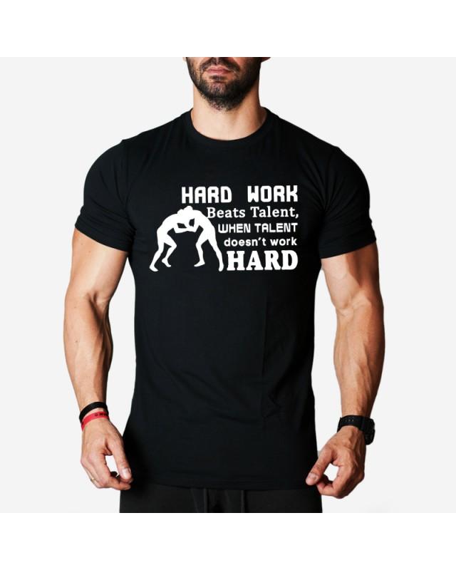 Мъжка тениска - Work Hard - черна