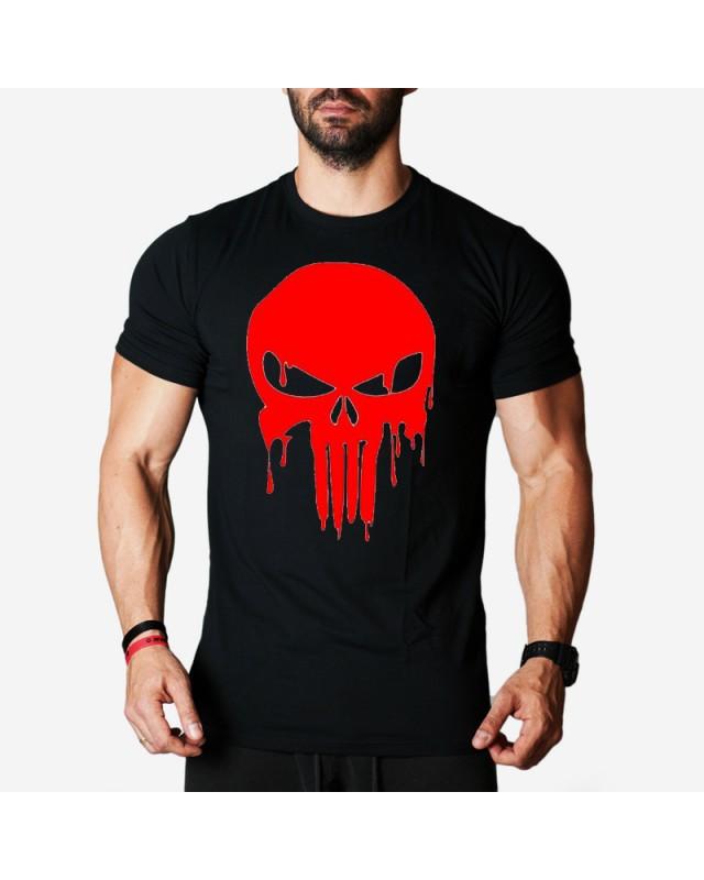 Мъжка тениска - Red Punisher -черна